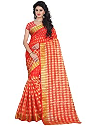 Pramukh Suppliers Women's Cotton Checkered Saree With Blouse Piece (Cotton Saree DM_R)