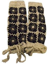 Gris y Negro calentadores-100% con forro polar de lana-Toasty Color cálido, tejidos en Nepal-comercio justo por One World es suficiente