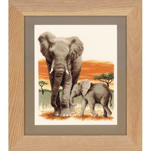 Vervaco - Kit para cuadro de punto de cruz, diseño de elefantes