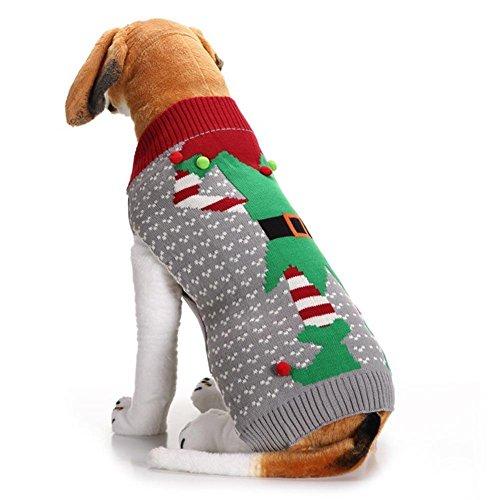 AOKDOOR 1 STÜCK Hund Kleidung Weihnachten Plüsch Ball Weihnachten Clown Hund Pullover Pet Weihnachten Elf Haustier Hund Kleidung (M) (Elf Kostüm Uk)