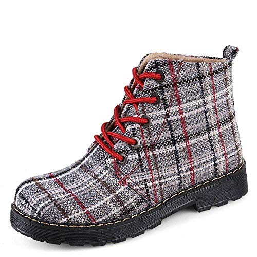 DEED Damen 'S Martin Stiefel Casual Retro Plaid Schuhe,35 EU,rot Casual Plaid-schuhe