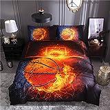 Wzz Bettwäsche 3 Teilig 3D Microfaser Basketball, Bettbezug, 2 Kissenbezug, für Kinder, Jungen, Mädchen Bettwäsche-Set,Firebasketball,260 * 220cm