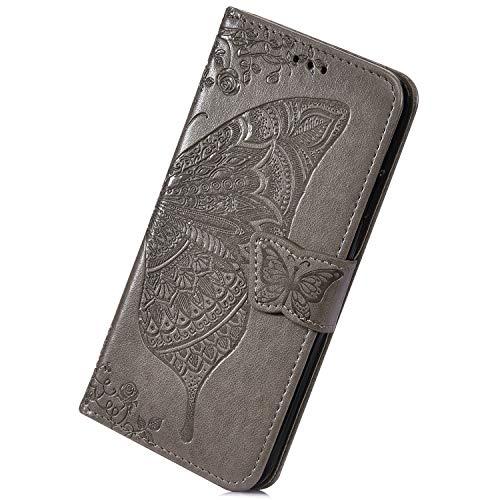 Herbests Kompatibel mit iPhone 6 Plus 5.5 Handyhülle Muster Luxus Schmetterlinge Blumen Muster Flip Case Schutzhülle Brieftasche Hülle Wallet Leder Hülle Klapphülle Kredit Karten,Grau