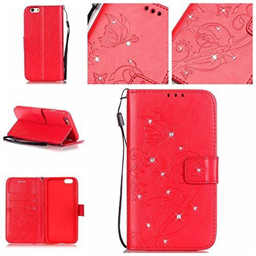 6 Plus / 6S Plus Hülle,6 Plus / 6S Plus Case,Cozy Hut ® Ultra Slim Flip Lederhülle / Ledertasche / Hülle / Case / Cover / Etui / Tasche für iPhone 6 Plus / 6S Plus (5,5 Zoll) / 3D Diamant Strass Bling Rote Diamantblumen