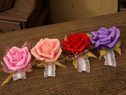 outflower 3Rose Blume Handgelenk Corsage Spitze Band Strass Stretch Armband Hochzeit Ball orange, rose, 6cm