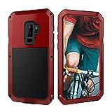 Beeasy Samsung Galaxy S9 Handyhülle,360 Grad Fallschutz Outdoor Hybrid Rüstung Schlagfest Stoßfest Handy Case Schutzhülle Robust Metall Stürzen Stößen Heavy Duty Hülle,Rot