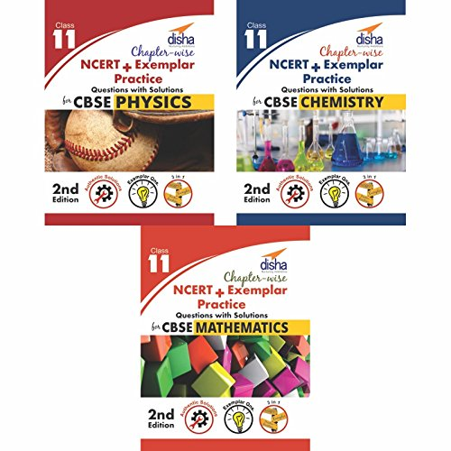 Chapter-wise NCERT + Exemplar Solutions for CBSE Class 11 PCM (Set of 3 Books)