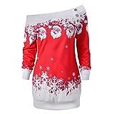 Sonnena pour femme Merry Christmas Père Noël Flocon de neige Imprimé TOPS à manches longues Chemisier longues pour homme XL Red