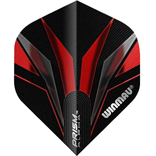 Winmau Darts Sport Prism Extra Dick Flights Pack 10 - Alpha Schwarz Rot 6, One Size