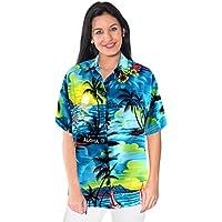 dono donne collare beachwear tasto gi� camicia camicia hawaiana a maniche corte blu signore