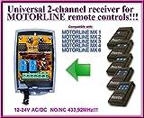 Motorline compatible receptor. 2-canales 433,92Mhz universal de radio módulo para Motorline MX1 / MX2 / MX3 / MX4 / MX6 transmisores. 12-24V AC/DC, NO