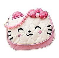 Scheppend Little Girls Cute Princess Bow Strip Bead Messenger Shoulder Bag Handbag Purse(Pink)