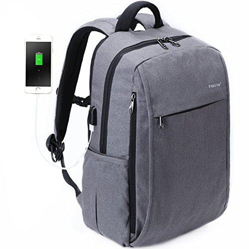 Fubevod Laptop Rucksack Erwachsene Rucksack Schulrucksack Daypacks Laptop Backpack Leichter Rucksack mit USB, Grau