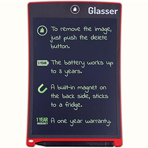Tableta de Escritura - Bloc de Notas de Dibujo Digital y Gráficos Sin Papel de 8,5 Pulgadas - eWriter para Niños y Adultos - La Tableta de Escritura LCD viene en un marco (Rojo)