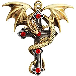 """Crux Dragana - (Dragon Cruz) para protección resistente - Anne Stokes Carpe Noctum Collection """"aprovechar la noche"""" collar con colgante de - caja de regalo"""