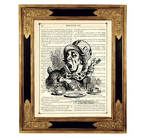 Alice im Wunderland der verrückte Hutmacher Poster Kunstdruck auf antiker Buchseite Kinderzimmer Deko Geschenk ()