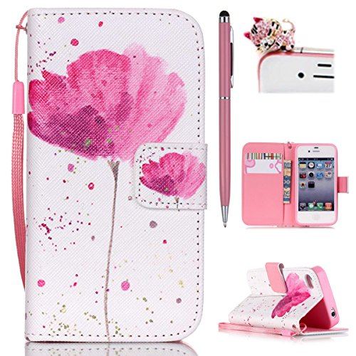 iPhone 4 Hülle,iPhone 4s Case - Felfy PU Ledertasche Strap Flip Standfunktion Magnetverschluss Luxe Bookstyle Ledertasche Nette Retro-Mode Painted Muster Abdeckung Schutzhülle Ablösbar Handliche PU Leder Mappen Schlag Cover mit Kartenfächern Tasche Spleißelement Handy Case Tasche Etui für Apple iPhone 4/4S (Blume Rosa) + 1 x Rosa Stylus + 1 x Rosa Katze Dust Plug (4 Wallet Iphone Pink Etui)