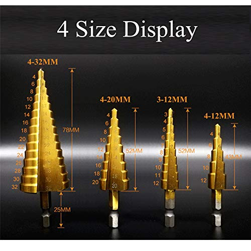 Asdomo 4pcs HSS Punta elicoidale per scanalatura a spirale 3-12/4-12/4-20/4-32mm Step Drill