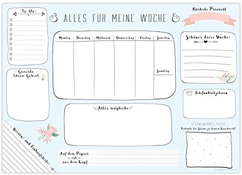 Schreibtischunterlage MEINE WOCHE, aus Papier zum Abreißen - DIN A3 (42 x 29,7 cm) Schreibunterlage mit 25 Blatt - Papierunterlage für Kinder und Erwachsene - Abrissblock mit Wochenplaner in Blau