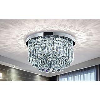 Modern Clear Crystal Raindrop Chandelier Lighting Flush Mount LED Ceiling Light Fixture Lamp for Dining Room Bathroom Bedroom Livingroom E14 Bulbs Required H25cm X D50cm