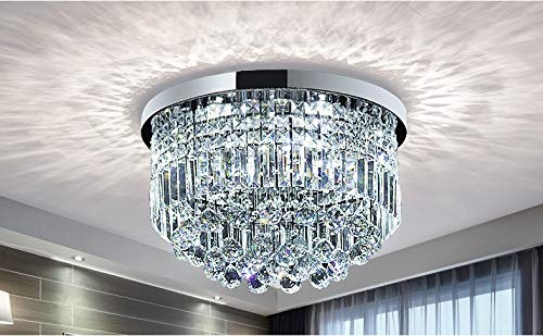Lustre de gouttes de pluie en cristal clair moderne éclairage encastré montage LED plafonnier pour la salle à manger salle de bains chambre salon E14 ampoules requis