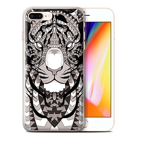 Coque Gel TPU de STUFF4 / Coque pour Apple iPhone 7 Plus / Loup-Bleu Design / Motif Animaux Aztec Collection Tigre-Mono