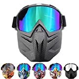 QXTKHW Gafas Desmontable Máscara del Moto Filte de Boca para Cascos Abierto Media Cara de Esquí Snowboard Motocross,Snakeskin