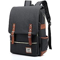 EssVita Casual Escuela Unisex Moda Vintage Mochila Backpack Rucksack Mochila Escolar Estilo A Gris oscuro