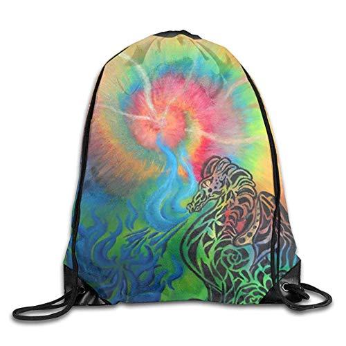 HLKPE Tie Dye Rainbow Dragon Drawstring Backpack Bag Beam Mouth Gym Sack Shoulder Bags for Men & Women