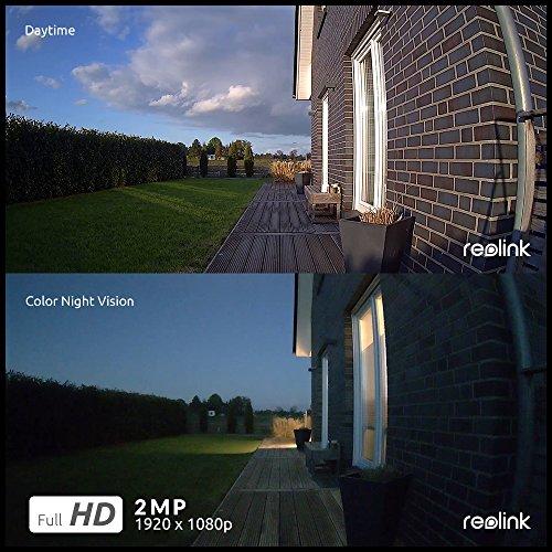 Reolink Überwachungskamera WLAN Aussen mit Akku, kabellose WiFi IP Kamera 1080p HD mit PIR-Bewegungsmelder, SD-Kartenslot, 2-Wege-Audio und Sternenlicht-Nachtsicht, Argus 2