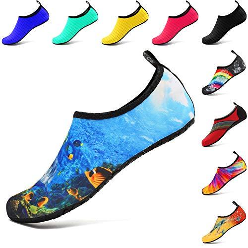 VIFUUR Scarpe da Sport Acquatici Barefoot Quick-Dry Aqua Yoga Slip Slip-on per Uomo Donna Bambino Mare Profondo EU 40-41