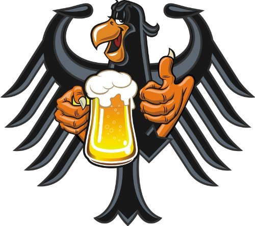 Aufkleber Cool Auto (8 x 9 cm - Konturschnitt - Autoaufkleber Deutscher Adler Deutschland mit Bier Krug Aufkleber funny cool Sticker fürs Auto Motorrad)
