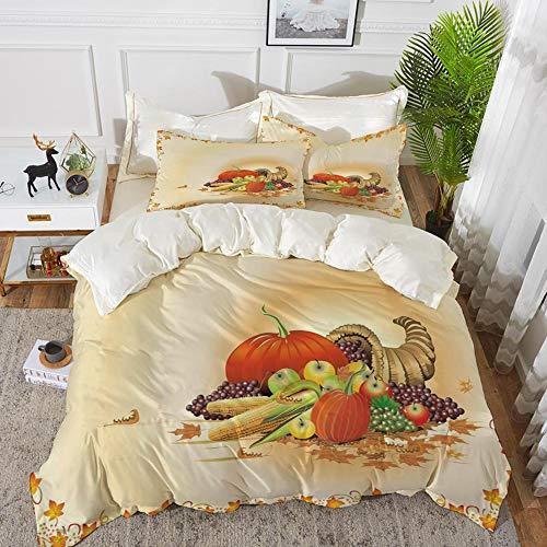 t, Mikrofaser, Harvest, Maple Tree Frame mit rustikaler Komposition für Thanksgiving Halloween Dinner Food, Multicolor,1 Bettbezug 200 x 200cm + 2 Kopfkissenbezug 80x80cm ()