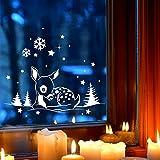 Fensterbild Reh im Schnee Deko Winter Fensterbilder Fensterdeko 40 x 18cm + Schneeflocken Sterne und Punkte selbstklebend für Kinder M2252 ilka parey wandtattoo-welt®