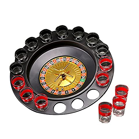 Trinken Roulette Spiel Set - 16pcs Schuss Glas Russisch Spinner Spinning Bingo Spielzeug für Bar Parties Urlaub Familie Spiel - Juleya