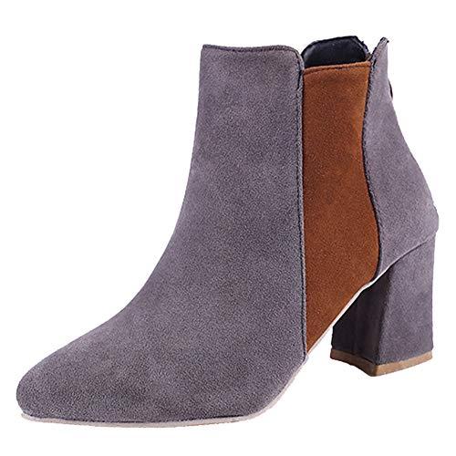 S&H-NEEDRA Frauen Spitzschuh Wildleder High Heel Schuhe Mischfarbe Stiefel Reißverschluss Boot