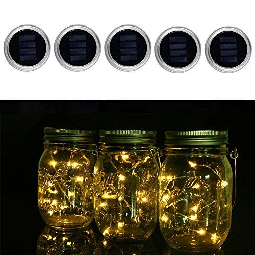 5 Pack Solar Mason Jar Lid, Fairy Light 10 LED String Lichter für Garten Pfad Dekor, Outdoor, Haus, Rasen, Patio, Party und Urlaub Dekorationen, Valentines Dekorationen, Weihnachten Deko Licht (Warme (Outdoor Dekor Haus)