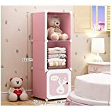 Kombination Garderobe Lagerung Cartoon Einfache Montage Kind Garderobe Kunststoff Schrank (Farbe : Rosa, größe : 3)
