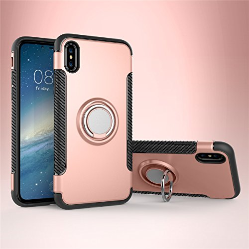 CaseforYou Hülle iphone X Schutz Gehäuse Hülse Shockproof Protective Case Cover with Rotating Ring Grip Stand Holder Schutzhülle für iphone X Handy (Navy Blue) Rose Gold