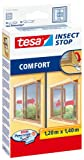 tesa Insect Stop 55188, Mücken, Fliegen &Fliegengitter, Schärpe, außen öffnende Fenster 1.2mx1, 4 m, Weiß