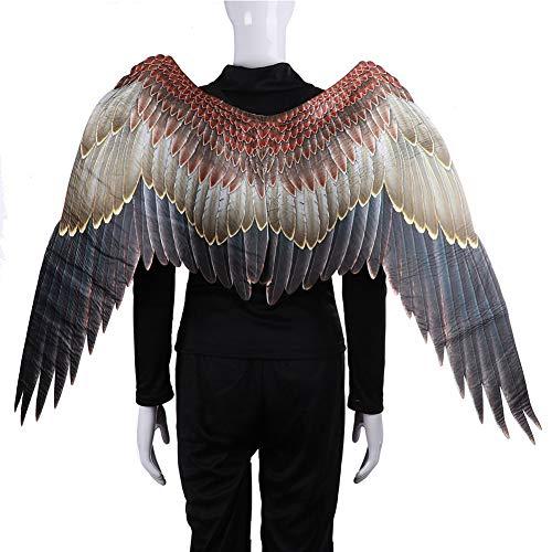 INGHU Halloween-Adler-Flügel, Kostüm, Cosplay, Engelsflügel mit Schlaufen, leicht, Vliesstoff, für Karneval, Bühne Performance, Hochzeit Requisite, Wie abgebildet, (Adler Kostüm Flügel)