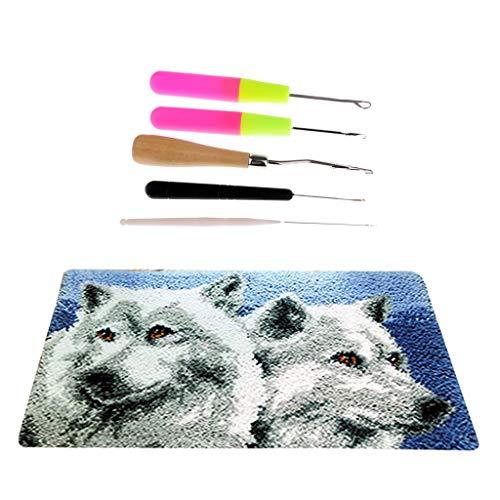 perfk 1 Set Knüpfteppich DIY Handwerk Knüpfpackung zum Selber Knüpfen Teppich mit Häkelnadeln für Kinder, Erwachsene, Wolf -