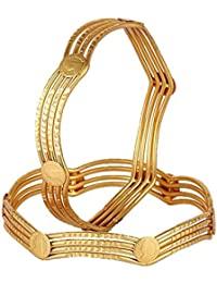 Aabhu Antique Victoria Coin Gold Plated Bangle Kada Bracelet Set Jewellery For Women And Girl