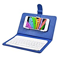 Binchil Keyboard Case Leather Stand Cover for Android Phones Blue