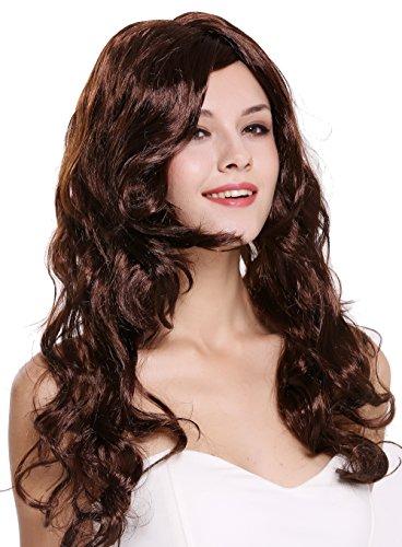 Wig me up ® - dec37-za33 parrucca donna carnevale lunga mogano ondulata riccia riga laterale 65 cm