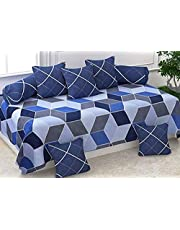 The choice home Cotton 5D Diwan Set with Cushion Covers and bolsters (Blue)