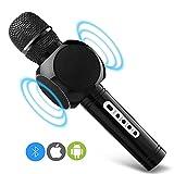 Karaoke Mikrofon Kinder, MODAR Tragbares drahtloses Microphone für Karaoke Bluetooth Lautsprecher, Aufnahme von Gesang für Singen und Musik hören, schönes Geschenk für Kinder, Schwarz