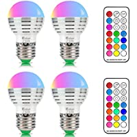 NetBoat Bombillas Led Colores, RGBW 3W E27 LED Colores Cambiantes Lampara, White and Color, Casa/ Decoración / Bar / Fiesta / KTV Ambiente Ambiance Iluminación, Pack of 4