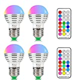 NetBoat Bombillas Led Colores, RGBW 3W E27 LED Colores Cambiantes Lampara, White and Color, Casa/ Decoración / Bar / Fiesta / KTV Ambiente Ambiance Iluminación, Pack of 4
