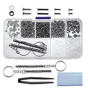510pcs Brillen Reparatur Kit, Brillen Reparatur Werkzeugsatz, 45 Arten von kleinen Schrauben und Nasenpads Set, mit 2 magnetischen Schraubendreher für Brillen, Sonnenbrillen, Brillen, Uhren, Schmuck
